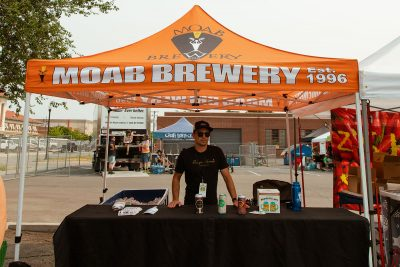 Moab Brewery poised to pass along their brews to Brewstillery crowdgoers.