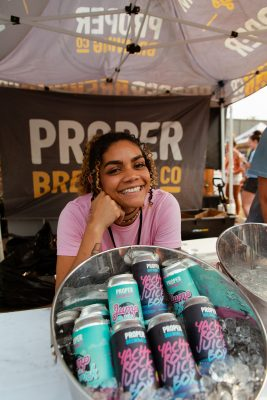 Proper Brewing Co. with some delightful, tropical-colored cans.