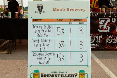Each brewer and distiller boasted their offerings on these Brewstillery-branded boards.