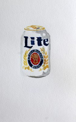 Using watercolor was an intentional choice for Sophie Schwabacher as most beer cans are graphically crisp.