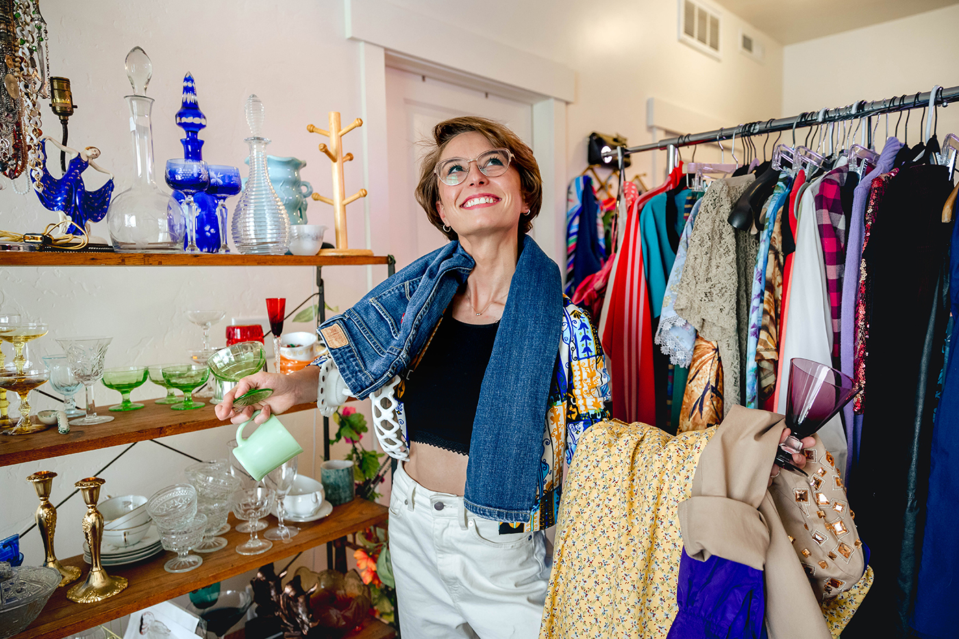 Kristen Wolfe, the owner of Kissing Whiskey Vintage, has had a passion for reused goods practically their whole life.