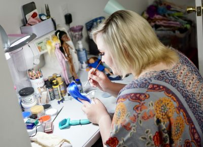 Creating her dolls takes several weeks of hard, precise work.
