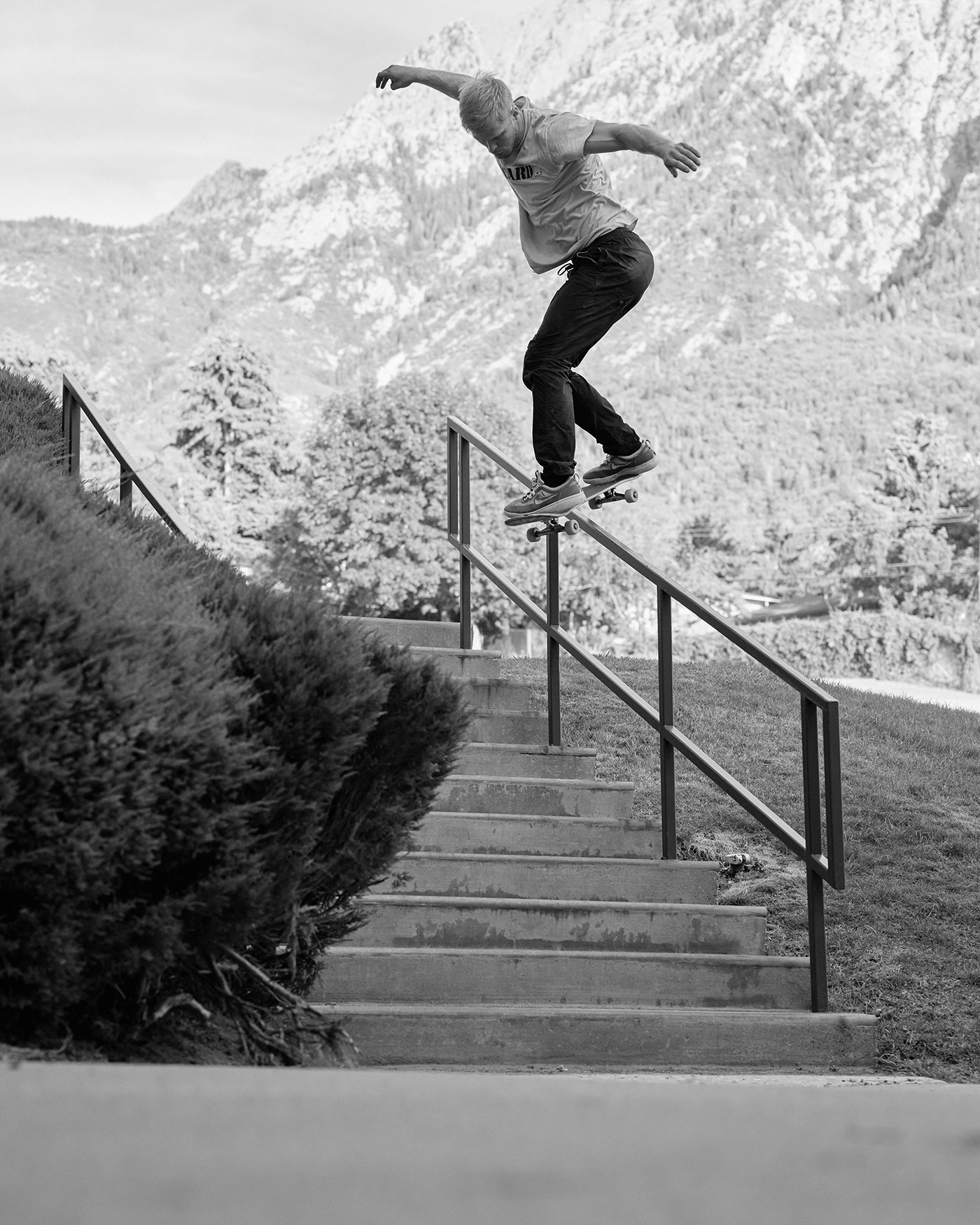 Jacob's perfect form is shown off with a backside lipslide.