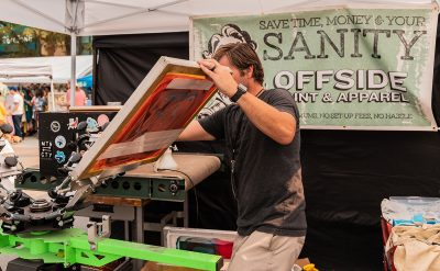 Offside Print and Apparel demonstrating how screen printing works.