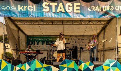 Angie Petty keeping the vibes on point on the KRCL Stage.