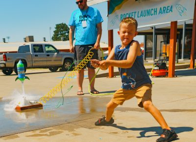 The rocket launch area was a smashing success with future astronauts testing their water boosted creations.