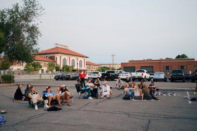The idyllic crowd awaits another SLUG Picnic set.