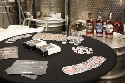 Swag from Sugar House Distillery nicely displayed.