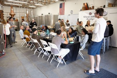 Many of the guests arrived on time and enjoyed all the food and various liquor tastings.