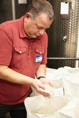 James Fowler showing some of the beautiful and locally sourced rye grains used in their process.