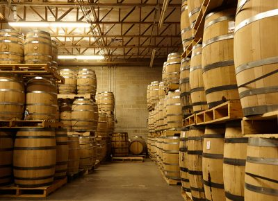A glance at one of the corners in the barrel room where the liquors are aging.