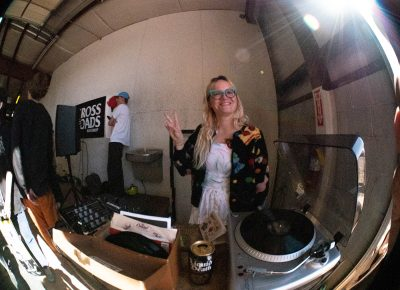 Keeping the skaters amped with DJ Amber.