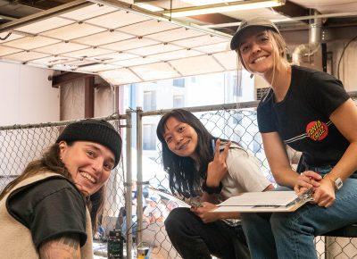 Local skate legends: Thorn Bowl judges Taylor, Lina and Kallie.