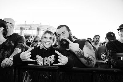 Jaxton Davies and Richard Gregory enjoying the show. Jaxton is excited to be at his first punk show.